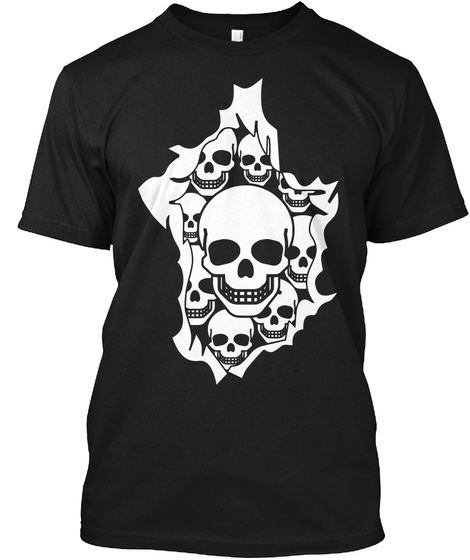 Halloween Skulls Burst Black T-Shirt Front