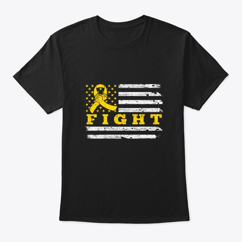 Fight Yellow Ribbon Childhood Cancer Black T-Shirt Front
