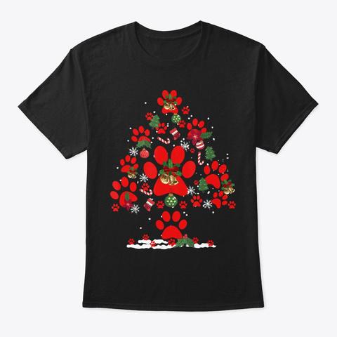 Dog Paw Christmas Tree Funny Christmas Black T-Shirt Front
