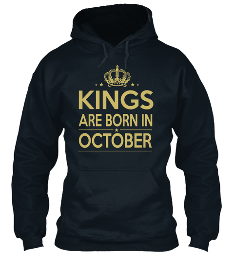 Kings Are Born In October French Navy T-Shirt Front
