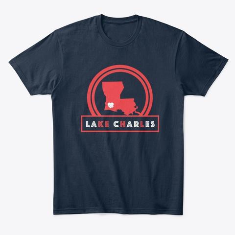 Lake Charles, Louisiana Cares New Navy T-Shirt Front