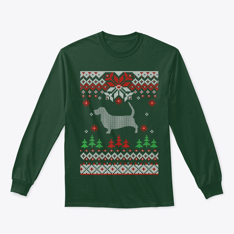 Basset Hound Dog Ugly Christmas Premium Forest Green T-Shirt Front