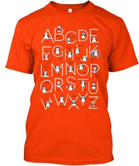 Bashphabet For Linux Users (Us) Orange T-Shirt Front