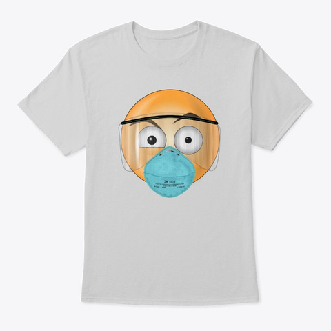 Masked Happy Face Light Steel T-Shirt Front