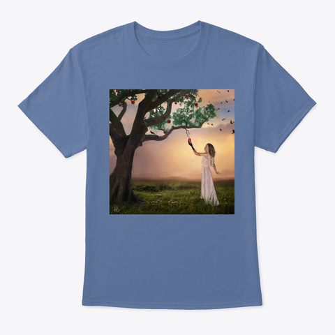 It All Started Here By Kim Boggus Denim Blue T-Shirt Front