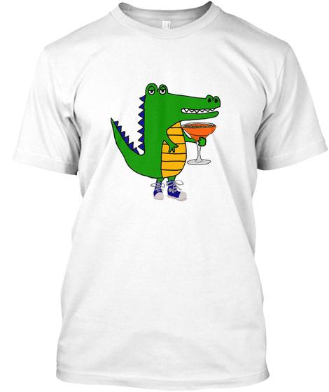Funny Alligator Drinking Margarita White T-Shirt Front