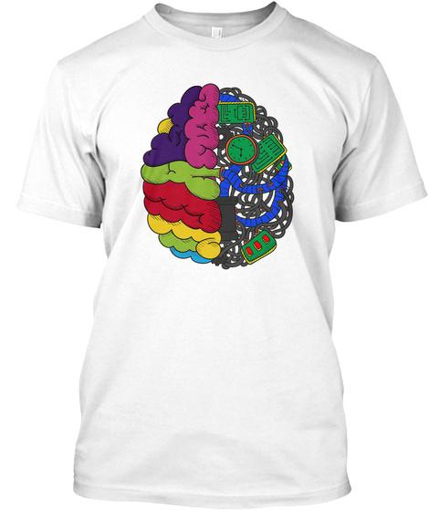 Brain Functions Left Vs Right White T-Shirt Front