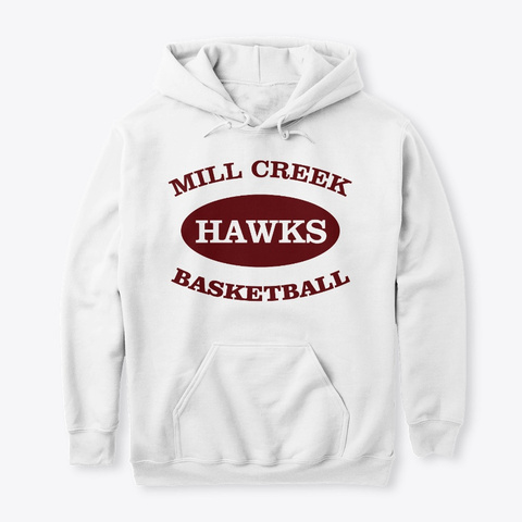 Mill Creek Hawks Basketball Athletic   White T-Shirt Front