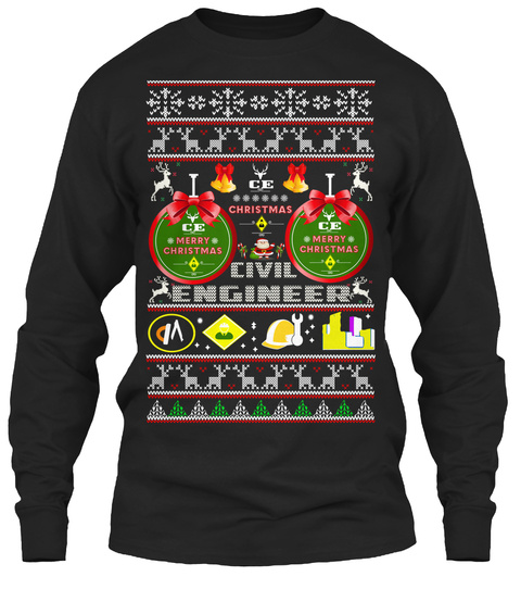Civil Engineer Ugly Christmas Sweater Black Long Sleeve T-Shirt Front
