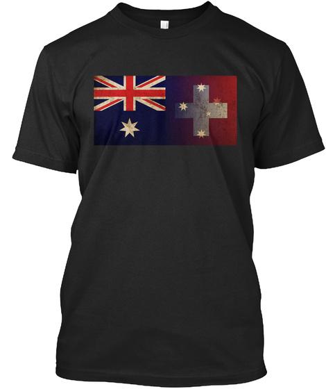 Swaussie (Swiss And  Aussie) T Shirt! Black T-Shirt Front