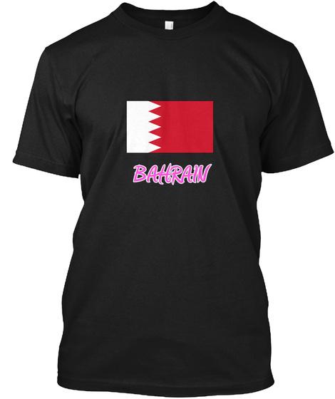 Bahrain Flag Artistic Pink Design Black T-Shirt Front