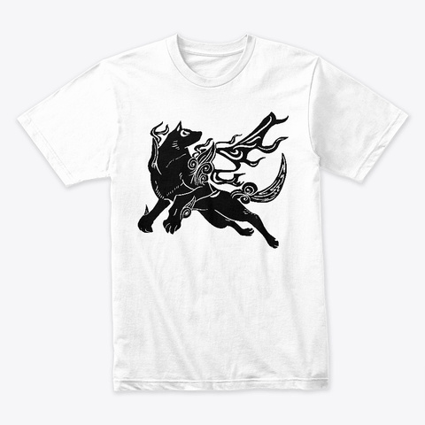 Painted Wolf (Black) White T-Shirt Front
