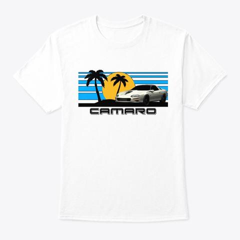 Cam. Sunset Palms Design White T-Shirt Front