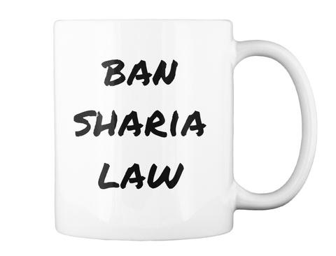 Ban Sharia Law White T-Shirt Back