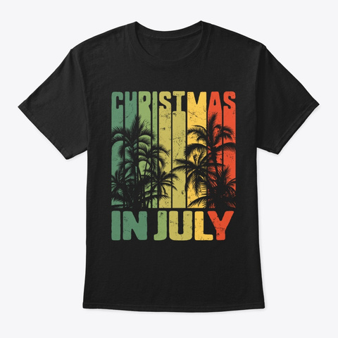 Christmas In July Vintage Beach Palms Black T-Shirt Front