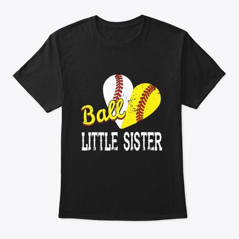 Baseball Softball Ball Heart Little Black T-Shirt Front