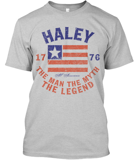 Haley American Man Myth Legend Light Steel T-Shirt Front