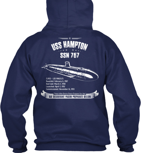 Uss Hampton Ssn 767 Navy Sweatshirt Back