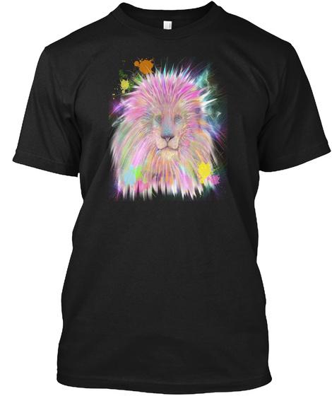 Colorful Rainbow Magical Lion Head Print Black T-Shirt Front