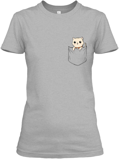 Cat Pocket Shirt Sport Grey T-Shirt Front