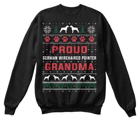 German Wirehaired Pointer Ugly Christmas Black T-Shirt Front
