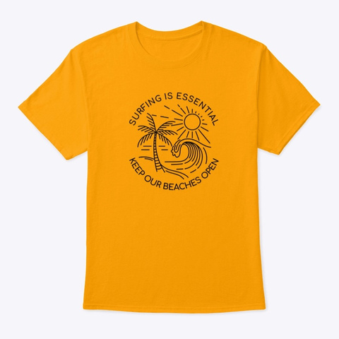 Essential Surfing Sketch Gold T-Shirt Front