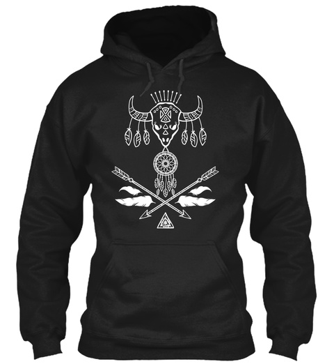 Bison Skull Dreamcatcher Boho Arrows Black T-Shirt Front