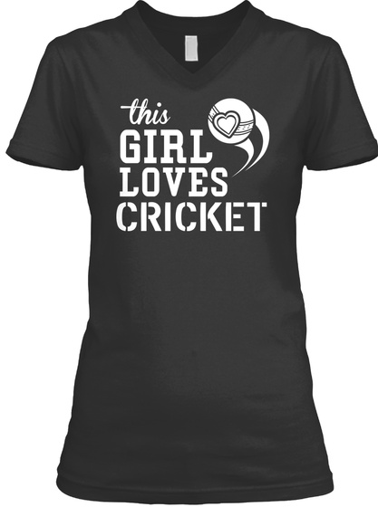 This Girl Loves Cricket Black T-Shirt Front