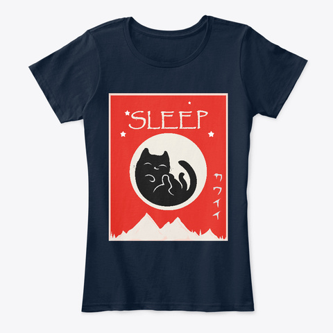 Japanese Vintage Distressed Sleeping Cat New Navy T-Shirt Front
