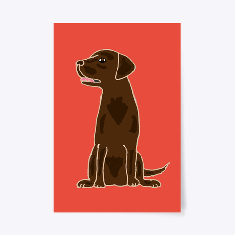 Cute Chocolate Labrador Retriever  Red T-Shirt Front