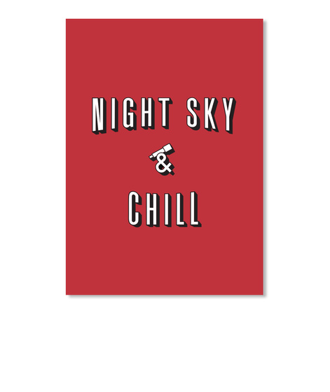 Night Sky And Chill Sticker [Int] #Sfsf Bright Red Sticker Front