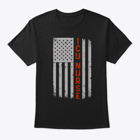 Icu Nurse American Flag Pride Black T-Shirt Front