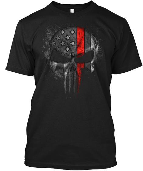 Firefighter Red Line Skull Black T-Shirt Front