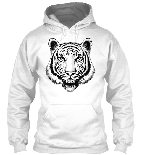 Sketches Of Animals Tiger White T-Shirt Front