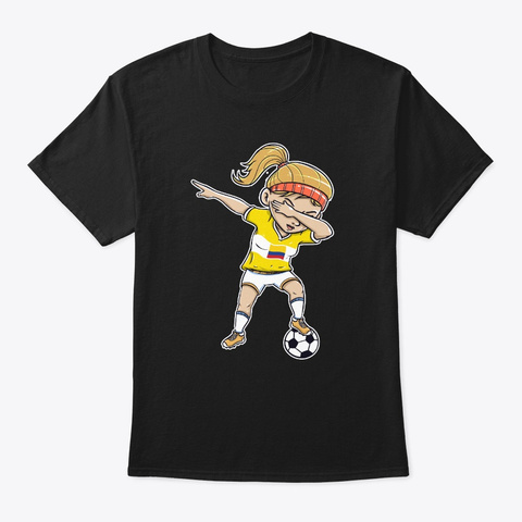 Dabbing Soccer Player Funny Colombia Black T-Shirt Front