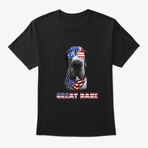American Flag Great Dane Dog Lover Gifts Black T-Shirt Front