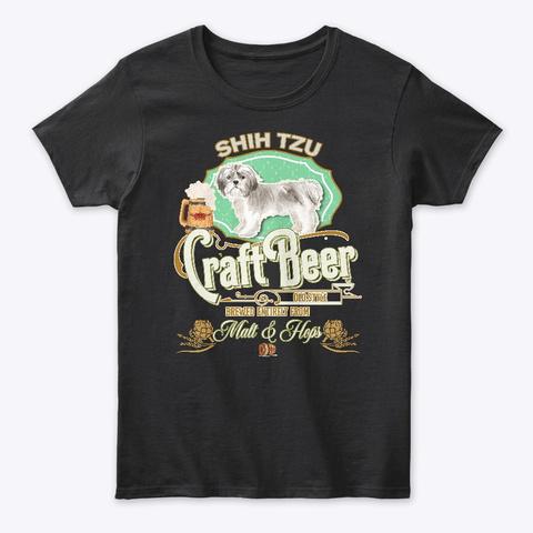 Shih Tzu Shorter Haired Gifts Black T-Shirt Front