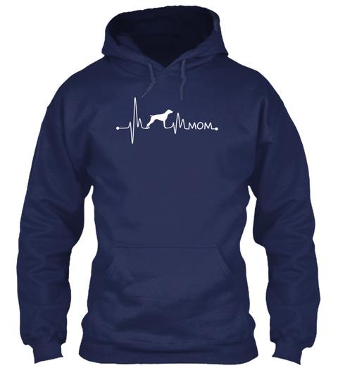 Heartbeat Pulse Line Pointer Mom Dog Lov Navy T-Shirt Front