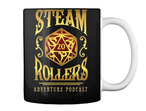 Steam Rollers Adventure Podcast Black Mug Back
