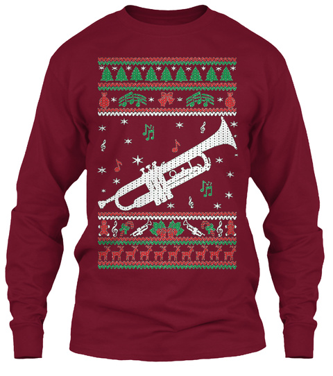 Trumpet Ugly Christmas Sweater Cardinal Red T-Shirt Front