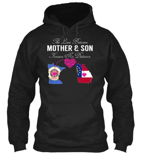The Love Between Mother & Son Knows The Distance Black T-Shirt Front