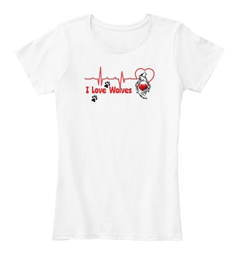 Valentine Wolf  White Women's T-Shirt Front