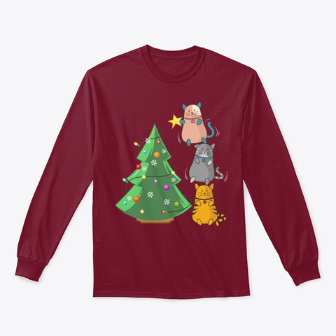 Cat Lover Christmas Gift Tree T Shirt Cardinal Red T-Shirt Front