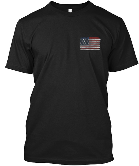 3d American Flag Dog Tags Black T-Shirt Front