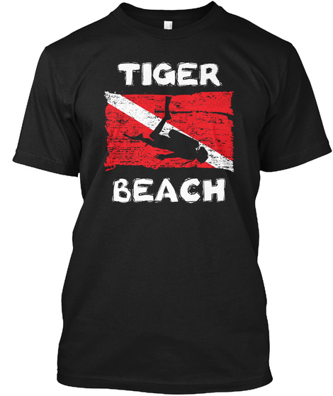 Tiger Beach Diving Flag Funny Women Black T-Shirt Front