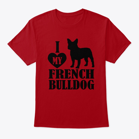 French Bulldog Deep Red T-Shirt Front