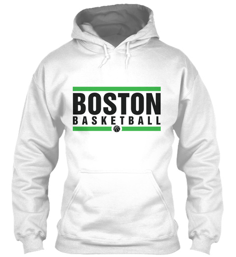 Boston Basketball Design White Sweatshirt Front