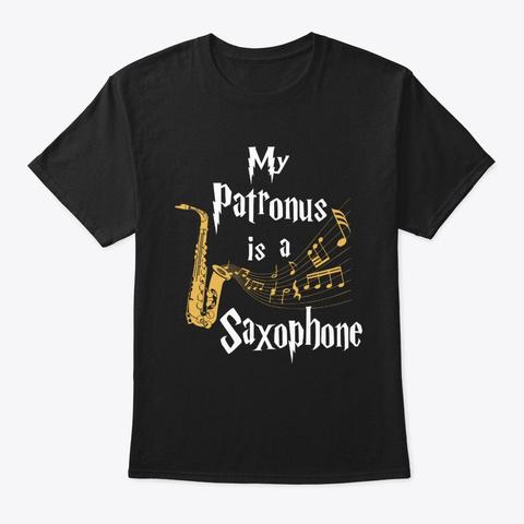 My Patronus Is A Saxophone Black T-Shirt Front