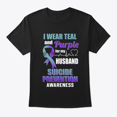I Wear Teal And Purple For My Husband Black T-Shirt Front