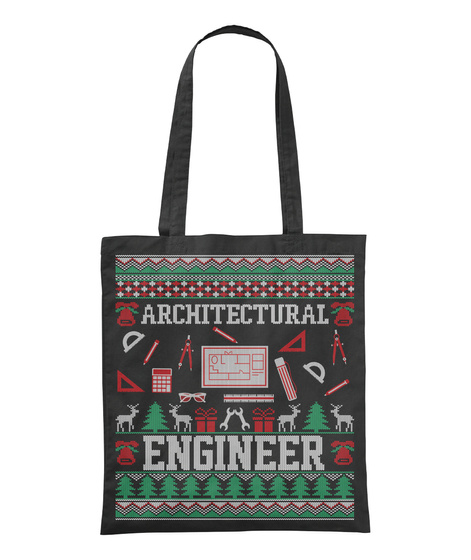 Architectural Engineer Black T-Shirt Front